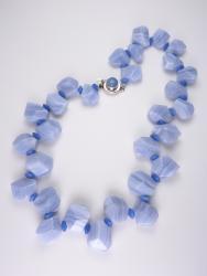 Periwinkle Petals Necklace - blue lace agate, chalcedony, blue quartz (glass)