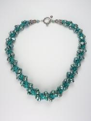 Teal Fusion - Spiral of Pearls Necklace Front View