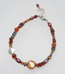 Copper Canyons Bracelet; Carrie's Classy Colorways - carnelian, freshwater pearl