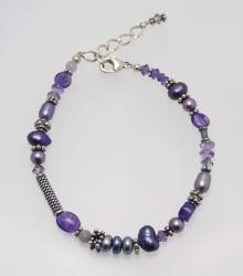 Purple Passion Bracelet; Carrie's Classy Colorways - amethyst, freshwater pearls